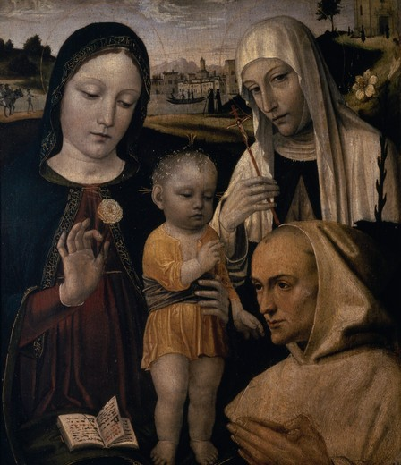 Stock Photo: 457-495 Madonna and Child with Blessed Stephen by Ambrogio da Fossano, 1481-1522, Italy, Milan, Pinacoteca di Brera