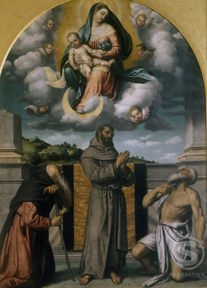 Virgin in Glory with Saint Jerome,  Saint Francis and Saint Anthony by Moretto da Brescia,  oil on canvas,  (1498-1554/Italian),  Italy,  Milan,  Pinacoteca di Brera : Stock Photo