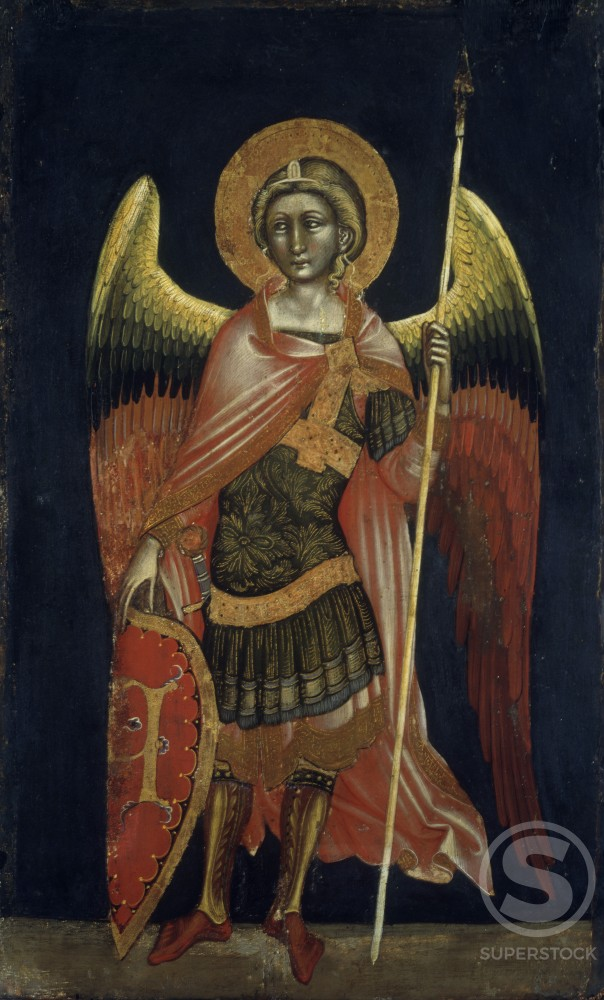 Angel by Guariento di Arpo, tempera on board, 1354, 1338-1378, Italy, Padua, Civic Museum : Stock Photo