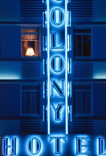 Colony Hotel sign with lamp in window,  USA,  Florida,  Miami Beach,  Ocean Drive : Stock Photo