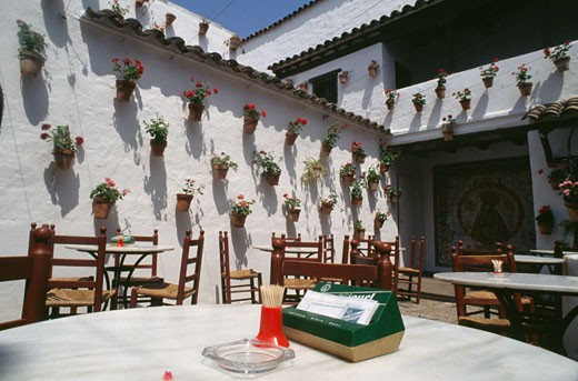 Restaurant's patio,  Spain,  Barcelona,  Poble Espanyol : Stock Photo