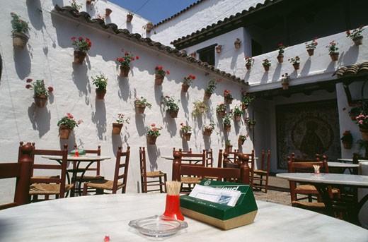 Stock Photo: 46-1284A Restaurant's patio,  Spain,  Barcelona,  Poble Espanyol