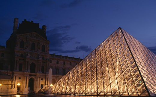 Stock Photo: 46-1363 Louvre Pyramid illuminated night,  France,  Paris