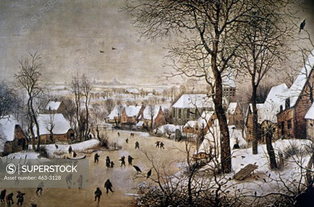 Stock Photo: 463-3128 Winter Scene With Ice Skaters And Birds 16th Century Pieter Bruegel the Elder (ca.1525-1569 Flemish) Painting