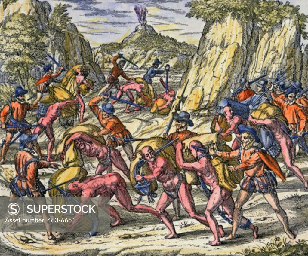 Stock Photo: 463-6651 The Spanish Treat the Indians Very Tyrannically (Conquest of Peru by Spanish Under Pizarro, 1529) Theodor de Bry (1528-1598 Netherlandish)  Colored copperplate