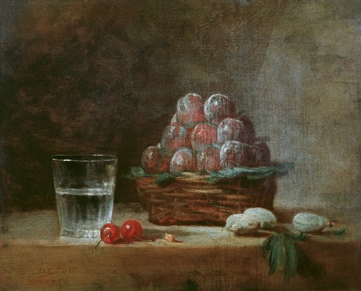 Chardin / Baket of Plums / 1759 : Stock Photo