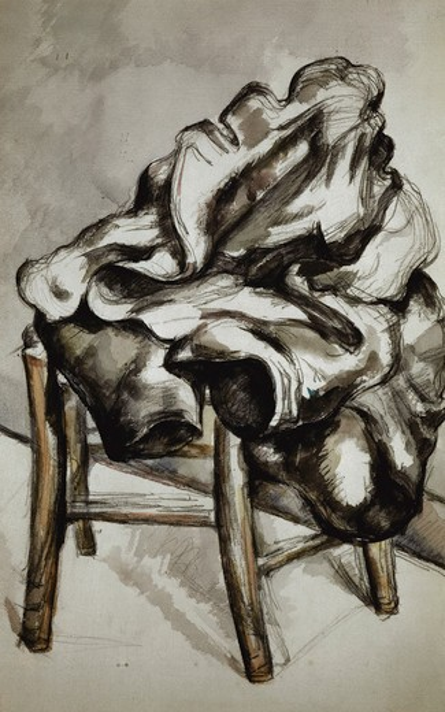 P.Cezanne, Mantel auf Stuhl -  -  : Stock Photo