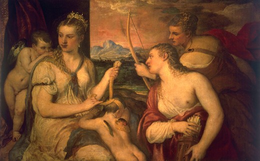 Stock Photo: 463-282310 Titian / The Education of Amor / c. 1565