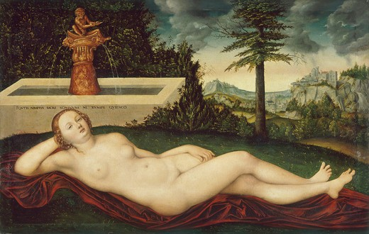 L.Cranach the Elder/ Nymph of the spring : Stock Photo