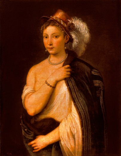 Titian / Yg.Woman with Plumed Hat / 1536 : Stock Photo