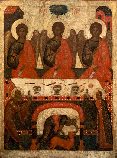 Stock Photo: 463-282800 Three Angels & Abraham / Russian Icon