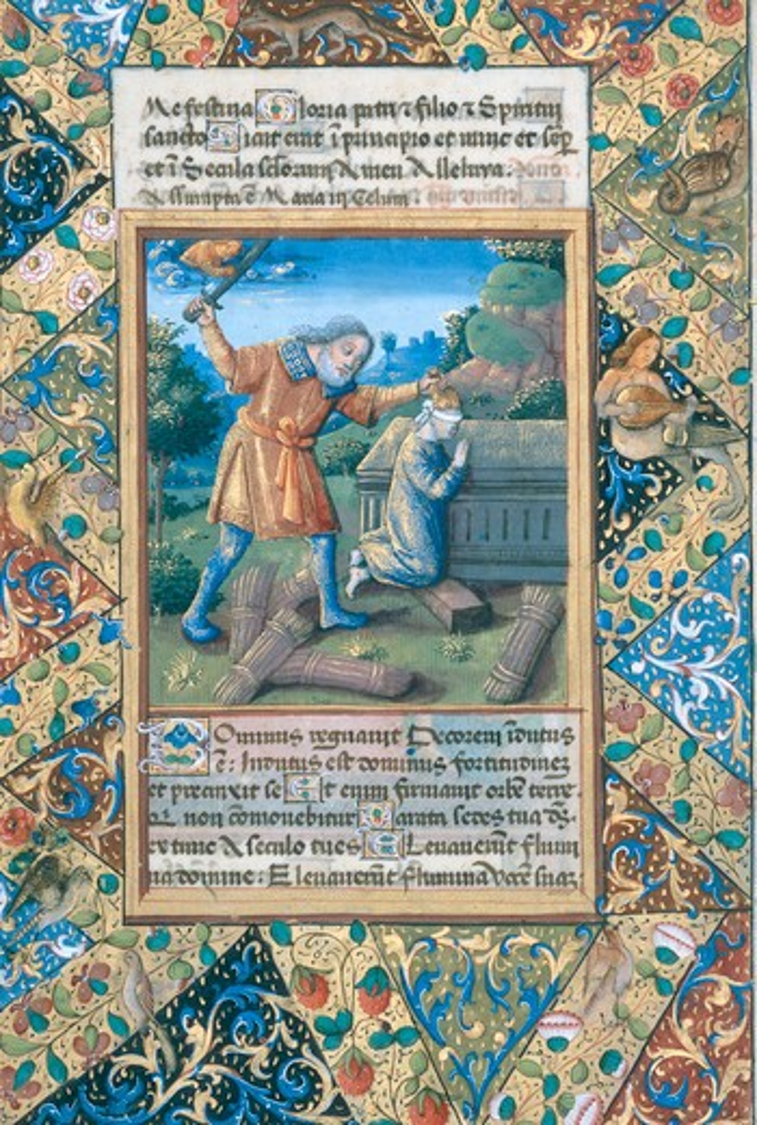 Abraham sacrifices Isaac / Illum. 1490 : Stock Photo