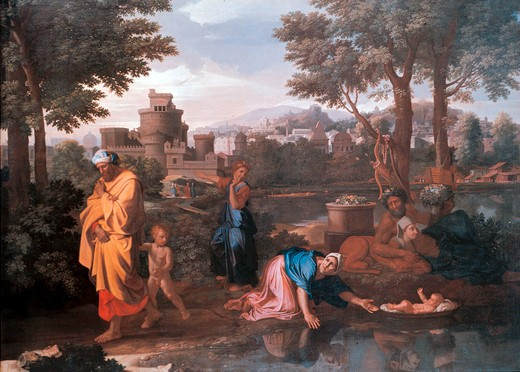 Stock Photo: 463-282865 Abandonment of Moses / Poussin / c.1624