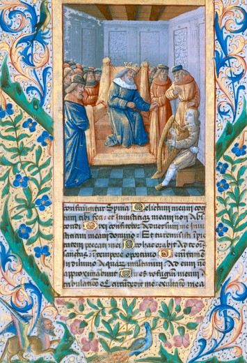 David plays for Saul / Book illum. 1490 : Stock Photo