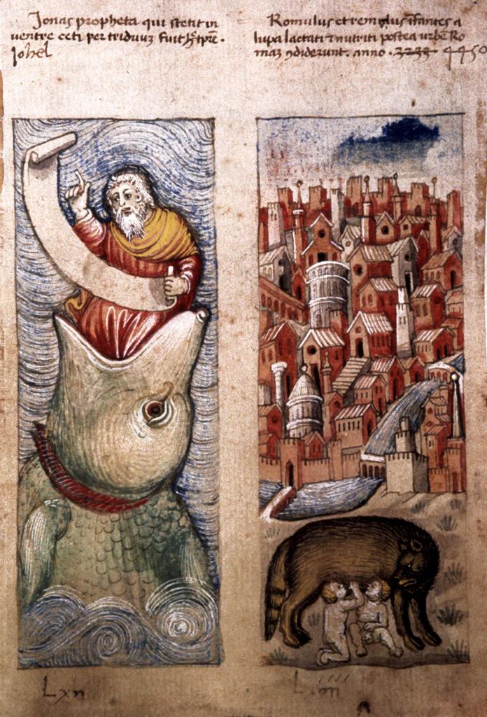 Jonah and the Whale / Illumin. / c.1460 : Stock Photo