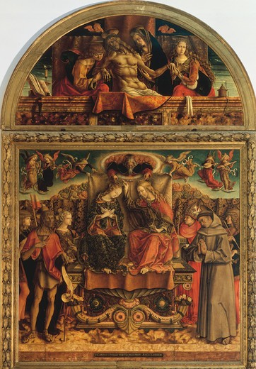 Stock Photo: 463-283211 Coronation of Mary and Pieta / Crivelli