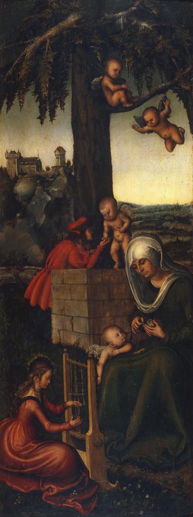 Stock Photo: 463-283216 L.Cranach t.E/Education of Virgin Mary