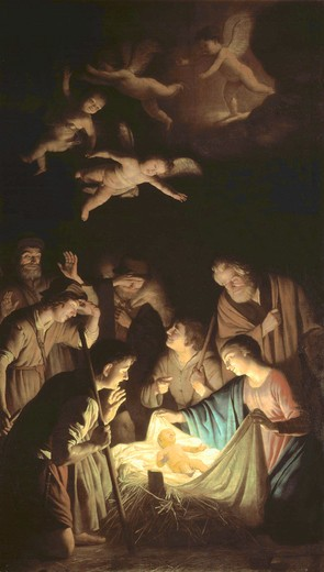 G.v.Honthorst, Adoration of the Shepherd : Stock Photo