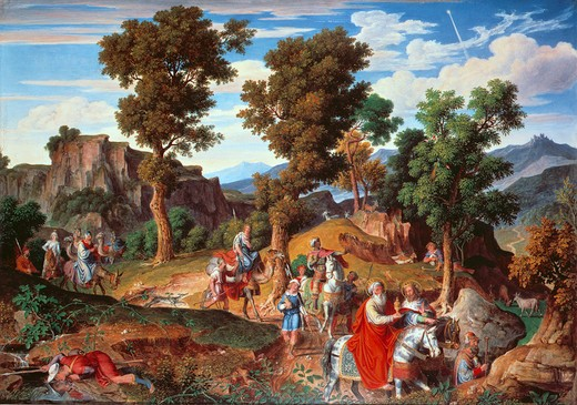 J.A.Koch, Landscape with the 3 Kings : Stock Photo