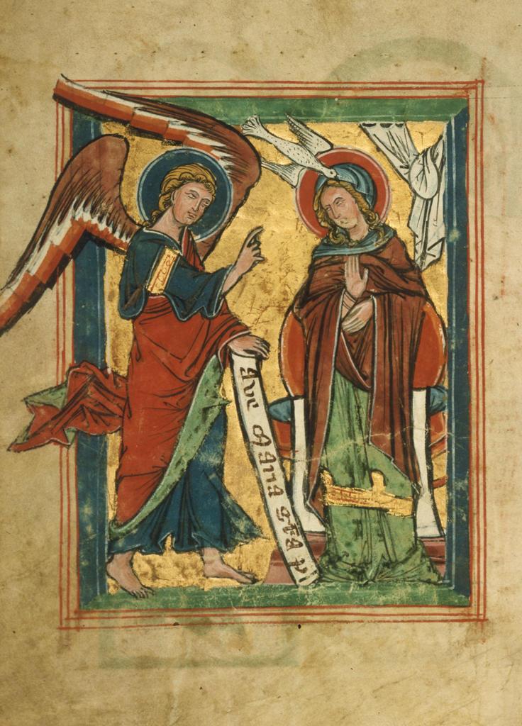 Annunciation / book illustr. / 13th c. : Stock Photo