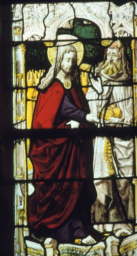 Stock Photo: 463-283514 Temptation of Christ / Stained glass