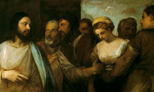 Titian / Christ and the adultress : Stock Photo