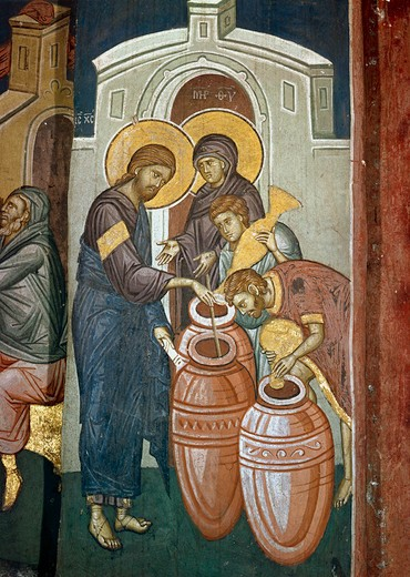 Stock Photo: 463-283521 The Wedding at Canaan / Decani / c.1340