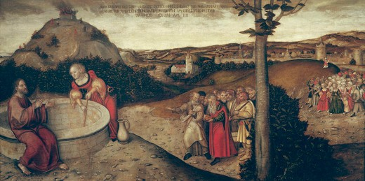Christ & samaritan woman / Cranach t.E : Stock Photo