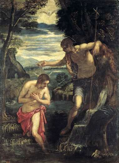 Stock Photo: 463-283538 Tintoretto / Baptism of Christ
