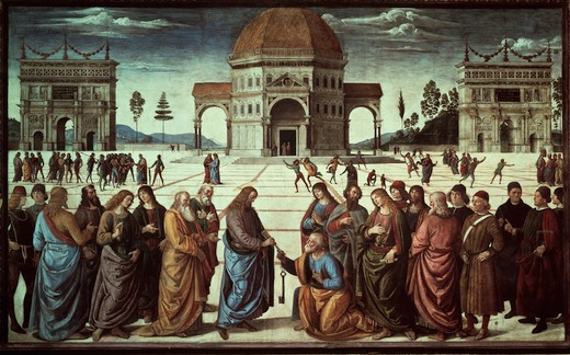 Perugino / Giving the key to Peter : Stock Photo