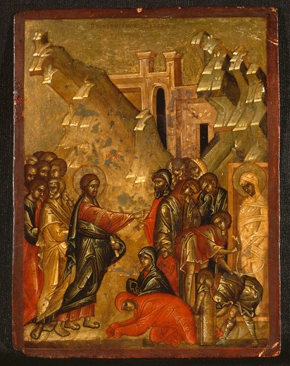Stock Photo: 463-283603 Raising of Lazarus/ Russian Icon/ C15th