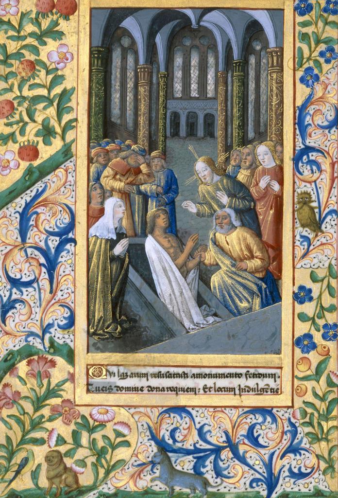 Raising of Lazarus / Book illumination : Stock Photo