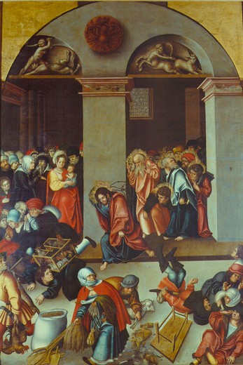 Stock Photo: 463-283625 Cranach t.E/Expulsion of Money Changers