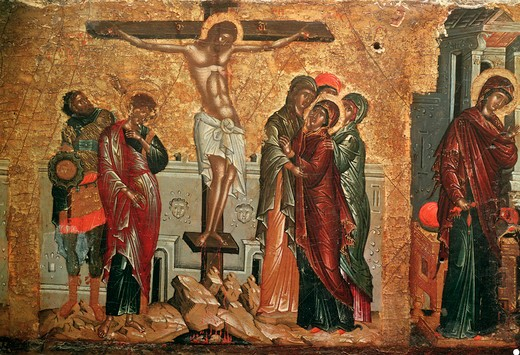 Crucifixion of Christ / Greek Icon : Stock Photo