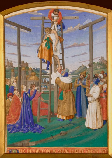 Jean Fouquet, Deposition from the Cross : Stock Photo