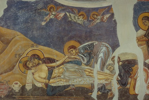 Stock Photo: 463-283802 Lamentation of Christ / Mural / Nerezi