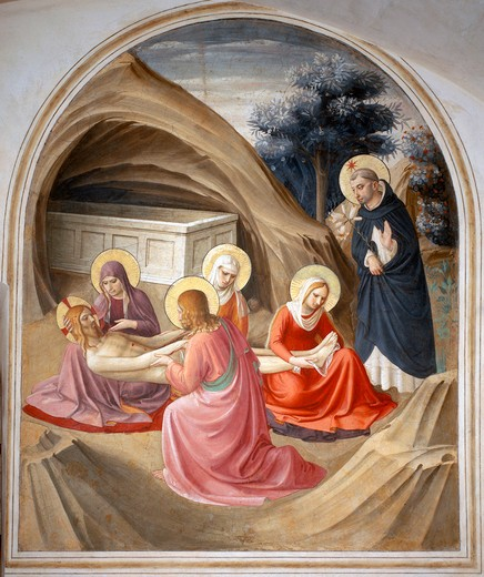 Stock Photo: 463-283810 Fra Angelico /Lamentation of Christ/ C15