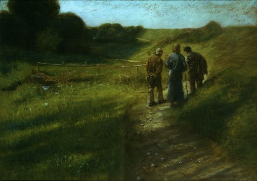 The Road to Emmaus / Fritz von Uhde : Stock Photo