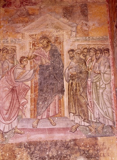 Doubting Thomas / Mural / c.1265 : Stock Photo
