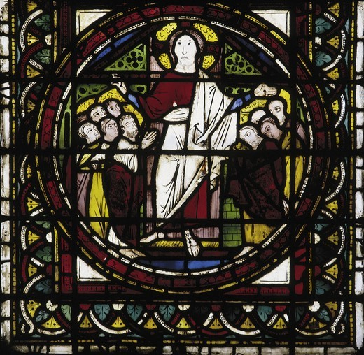 Stock Photo: 463-283892 Assisi / Glass window / Christ appears