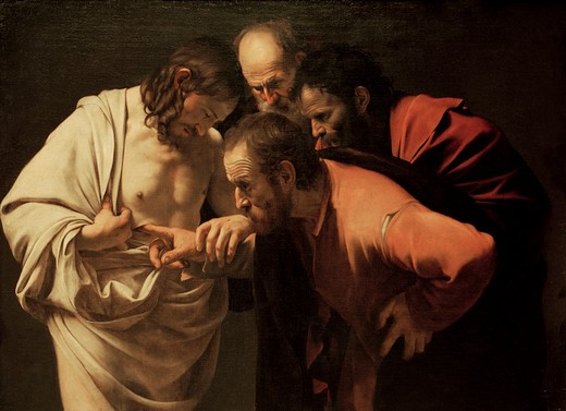 Caravaggio / Doubting Thomas / 1595/1600 : Stock Photo