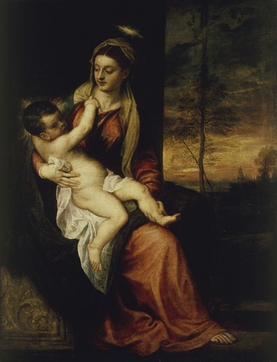 Stock Photo: 463-284153 Titian / Madonna and Child, Evening
