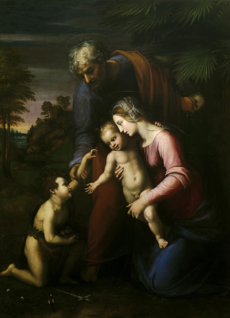 Stock Photo: 463-284217 Raphael/Holy Family with St.John/c.1513