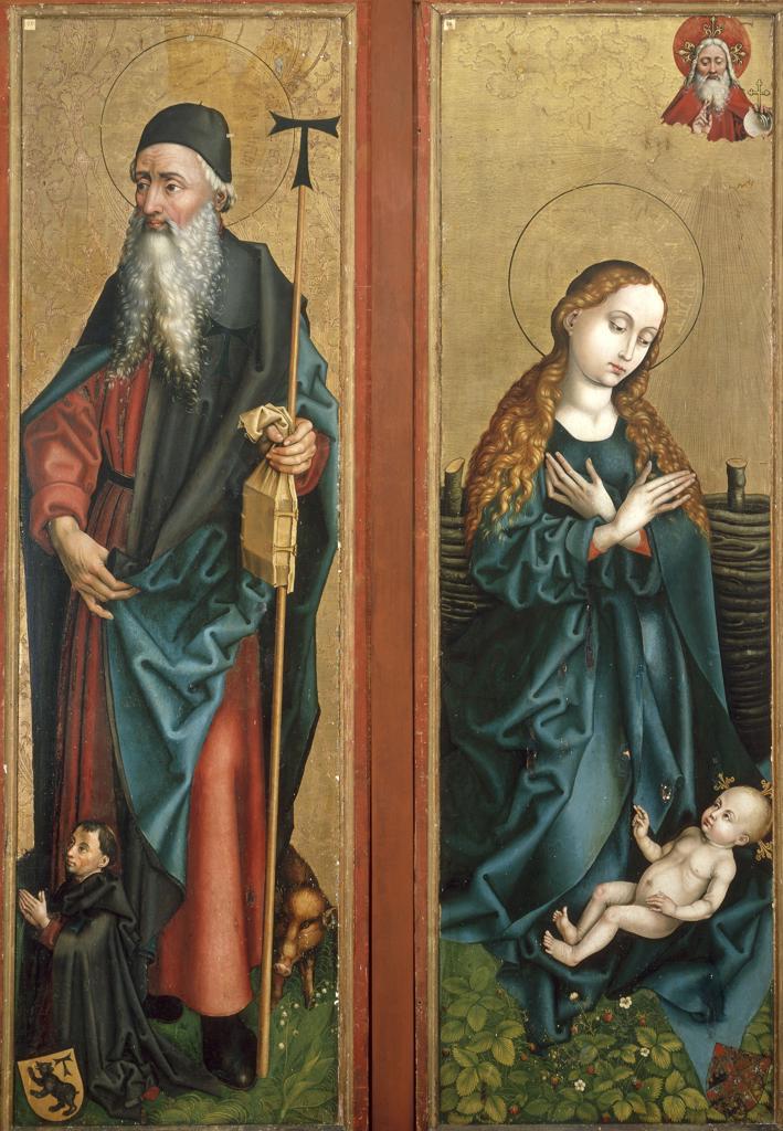 M.Schongauer, Anthony a. Virgin w. Child : Stock Photo