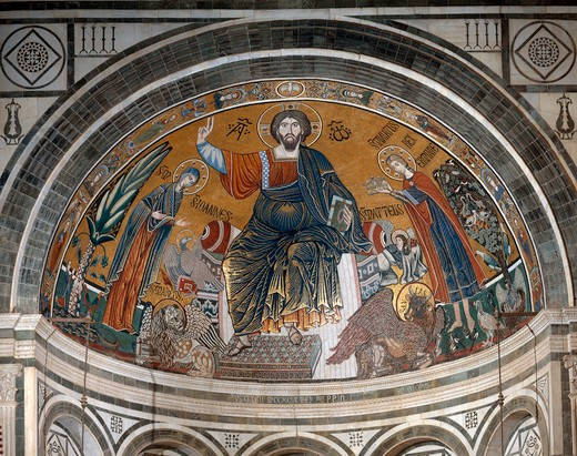 Stock Photo: 463-284333 Enthr.Christ /Mosaic, S.Min.al Monte/C13