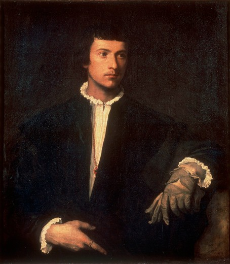 Titian / Man with a Glove / 1523/24 : Stock Photo
