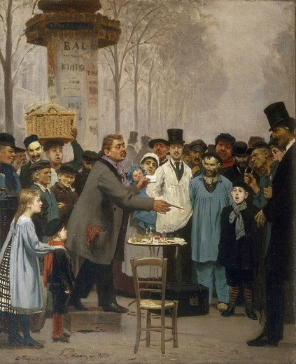 Stock Photo: 463-284589 Repin/ Novelties Seller in Paris / 1873