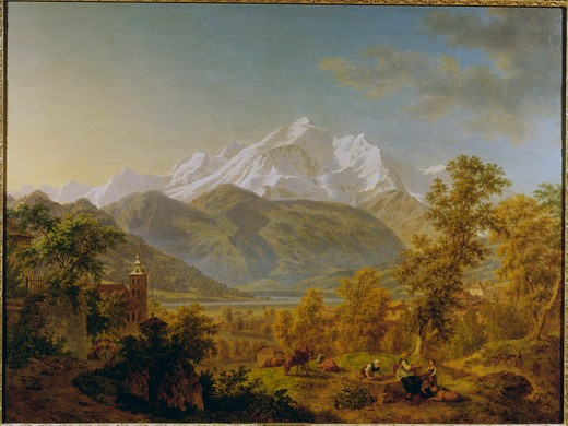 de La Rive / Mont Blanc / Painting, 1814 : Stock Photo