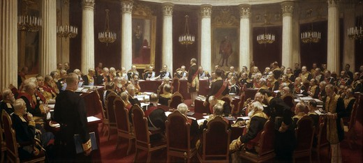 Stock Photo: 463-284705 Russian State Council 1901/ Repin