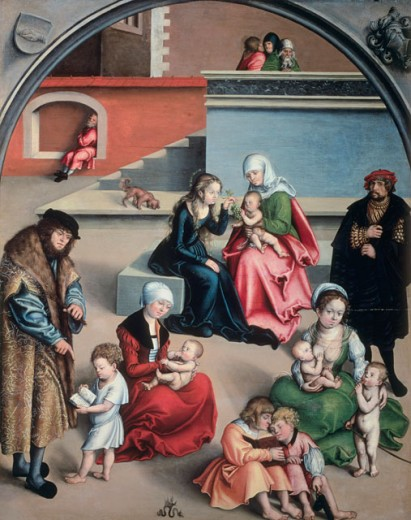 Stock Photo: 463-3011 Holy Kinship (Detail of Artist and His Family) 